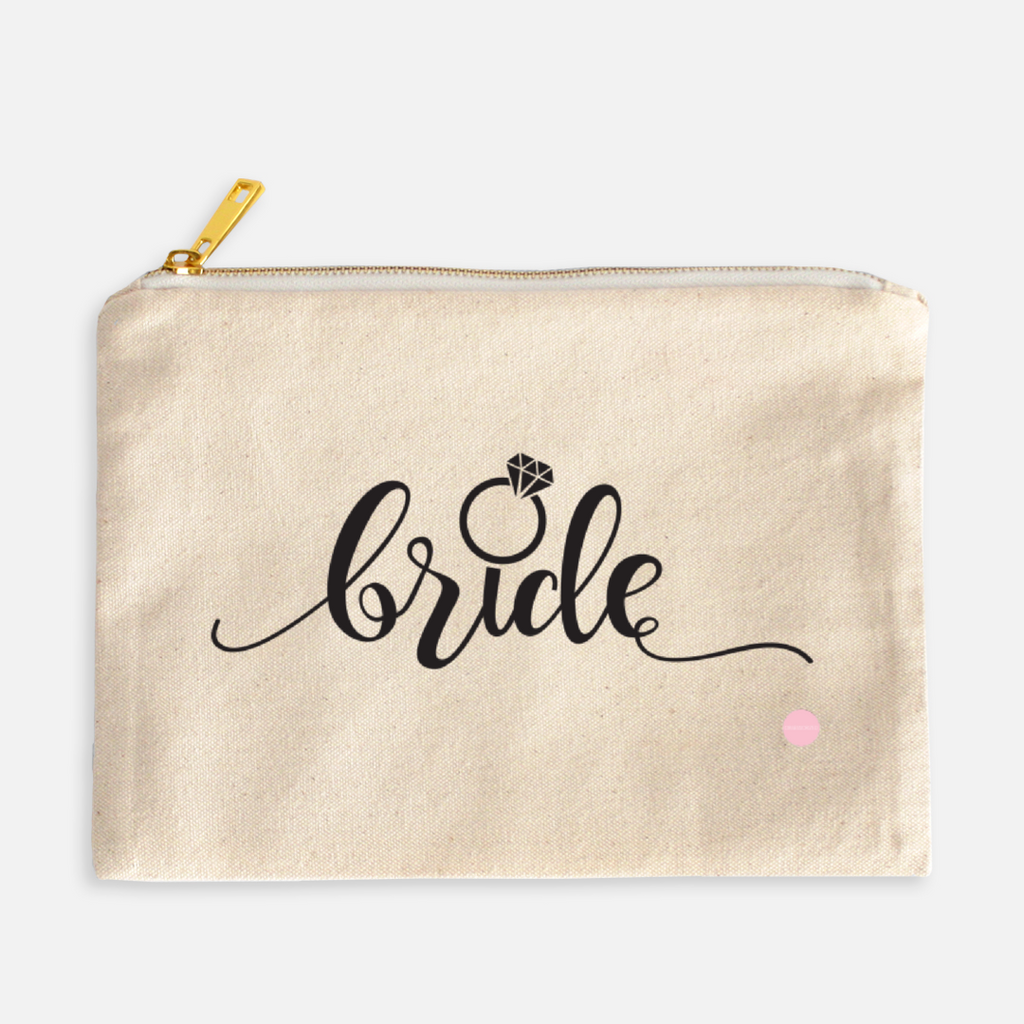 """Bride"" Canvas Makeup Bag"