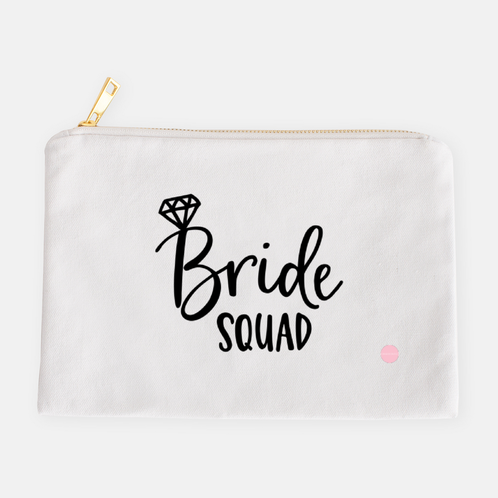 """Bride Squad"" Canvas Makeup Bag"