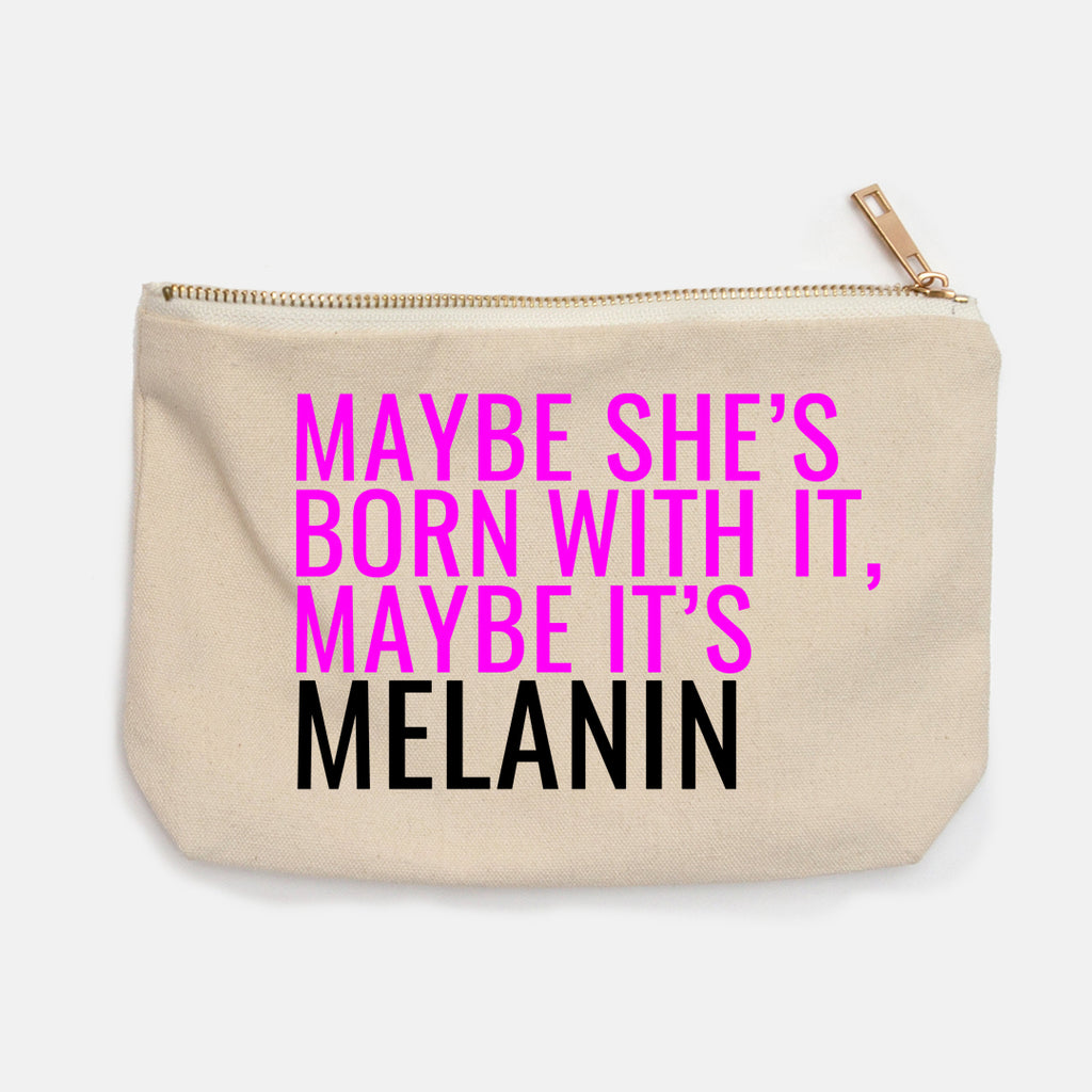 """Maybe She's Born With It"" Canvas Makeup Bag"