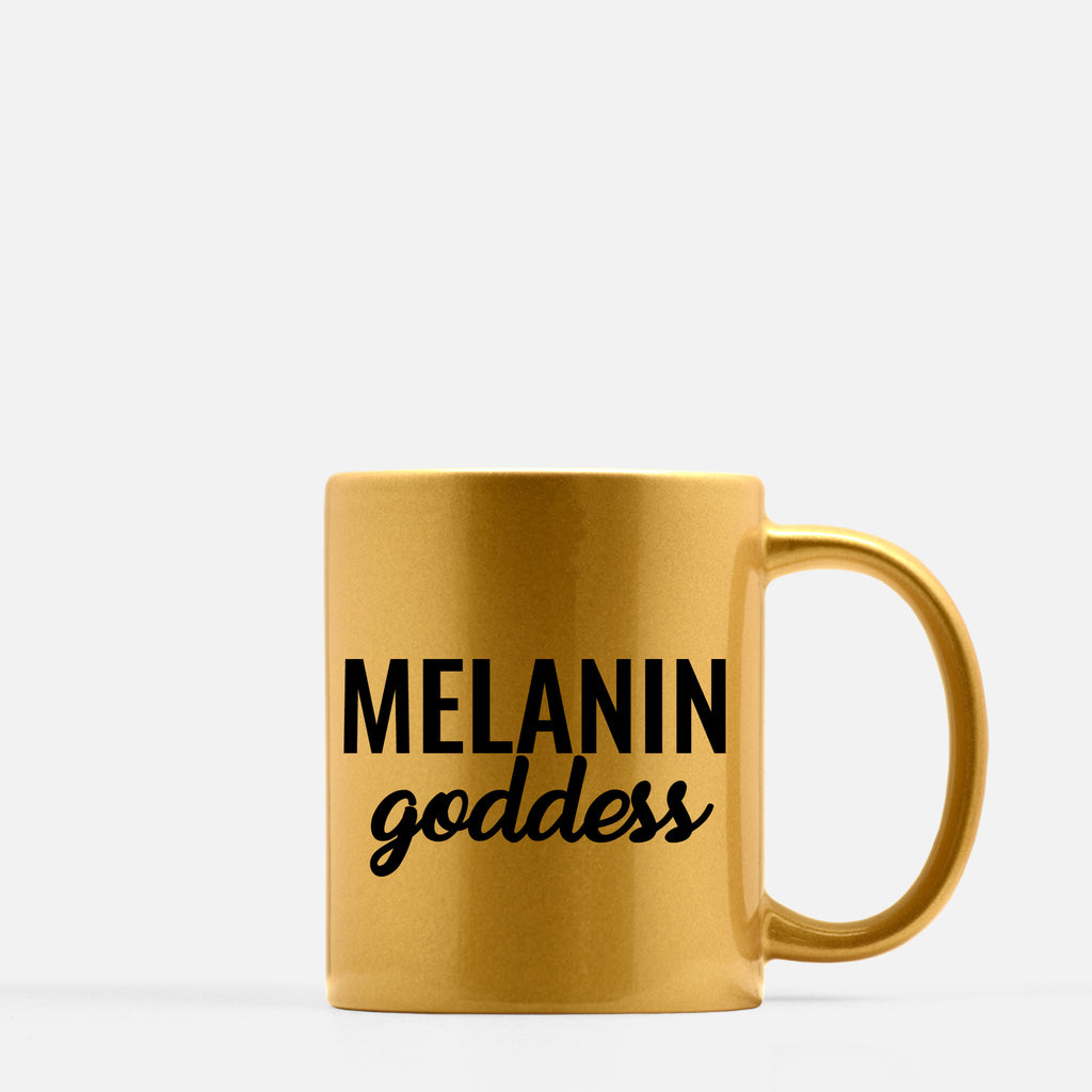 """Melanin Goddess"" 11oz. Gold Mug"