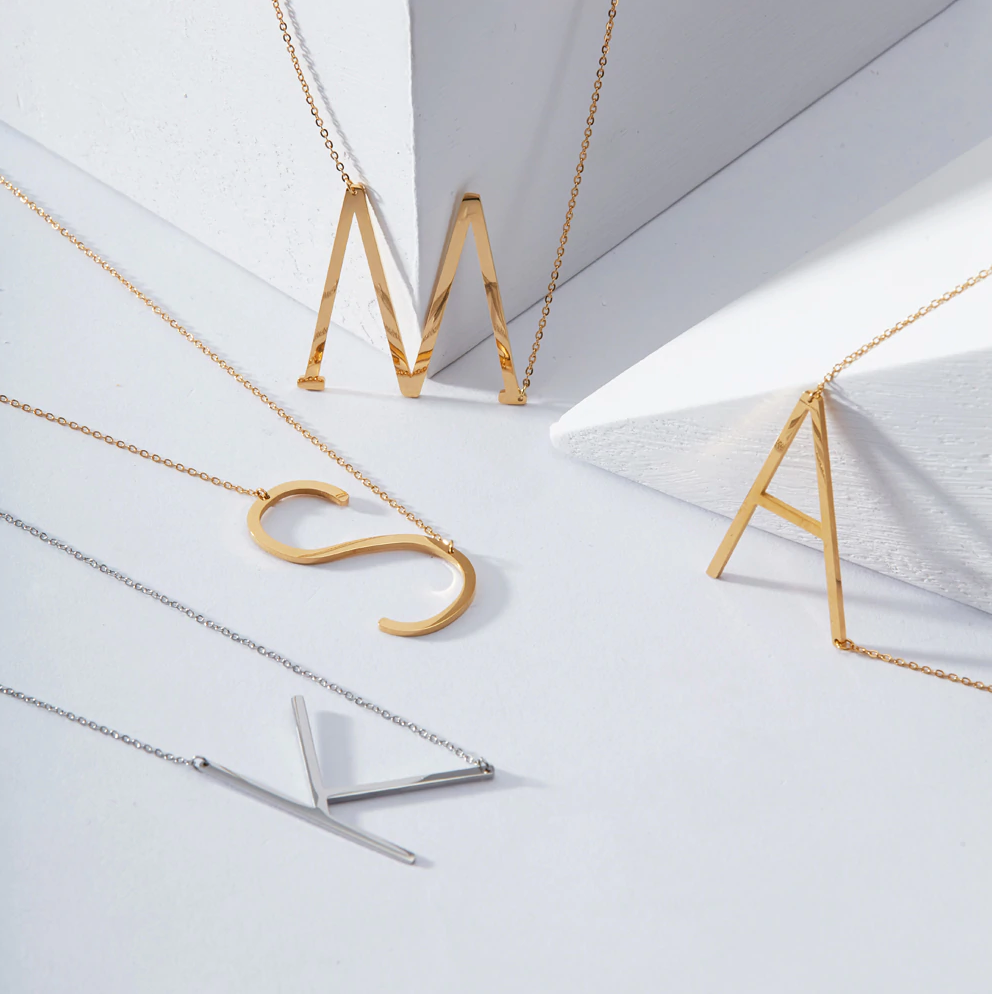 Stainless Steel Initial Necklace (Gold)
