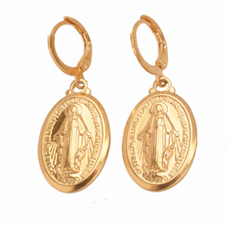 Ave Maria Gold Drop Earrings