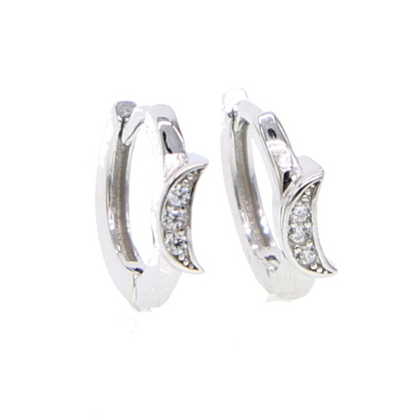 Silver Crescent Moon Huggie Earrings