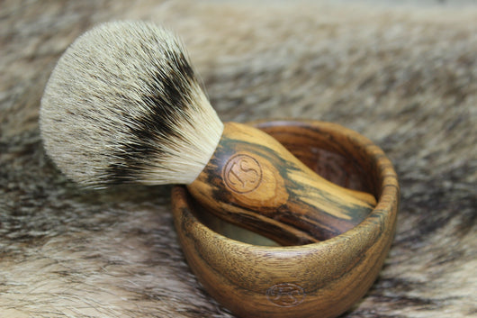 Pure Silvertip Badger Shaving Brush with Mug Ebony Wood