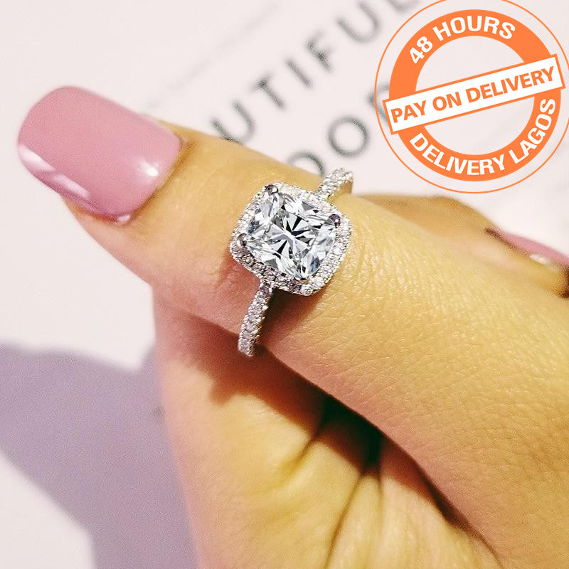 original solid real arrival 925 Sterling Silver Ring Finger luxury CZ Stone for Women Wedding Engagement Jewelry R466ASBuy mate
