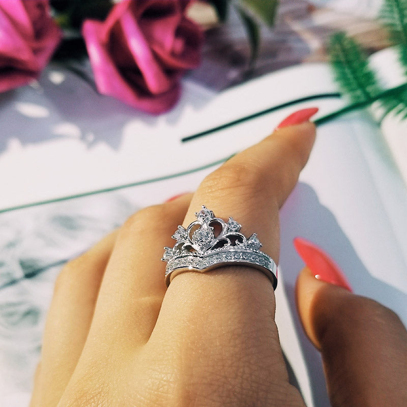 925 Sterling Silver Ring Finger crown princess promise fashion Ring for girl love party Women Jewelry Engagement R4604S