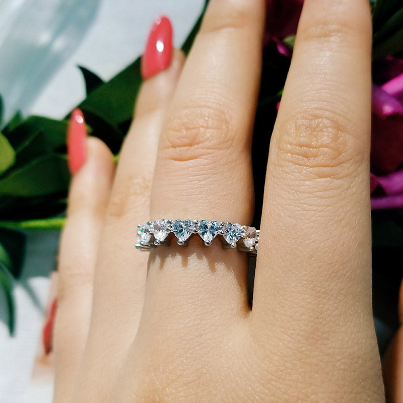 fashion heart shape zircon promist eternity band Ring for Women love lover Wedding party valentine day gift jewelry R4578S