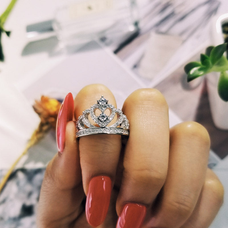 925 Sterling Silver Ring Finger crown princess Ring for Women Jewelry Pure Wedding Engagement R4595S