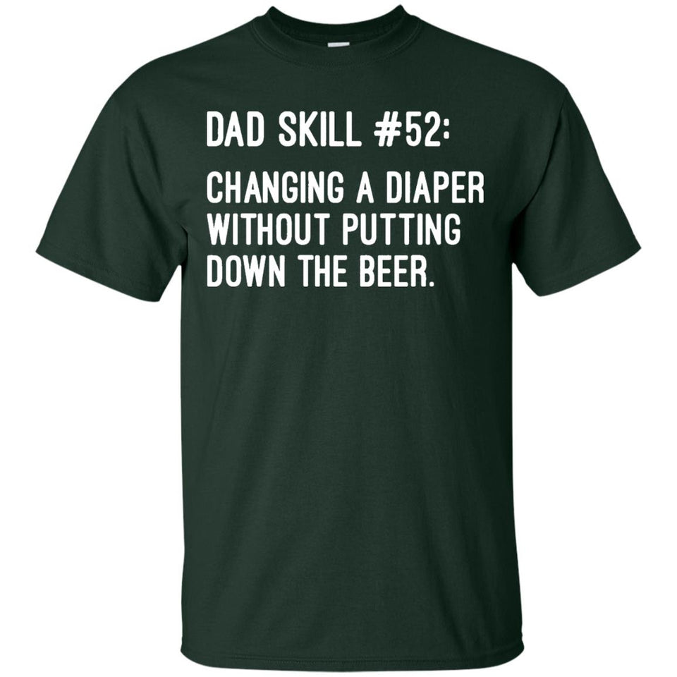 Men's Dad Skills Diaper and Beer Funny T-shirt