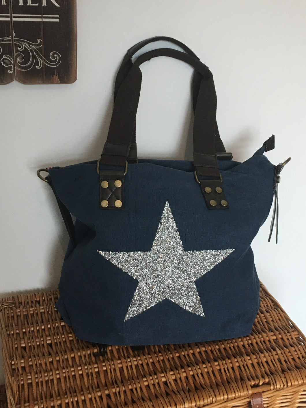 Large Navy sparkling Silver Star Bag - 100%  Canvas