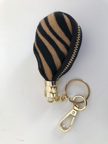 Beige  and Black Striped Keyring