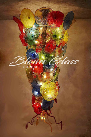 Blooming Colors Hand Blown Glass Plates Chandelier - Blown Glass Collective
