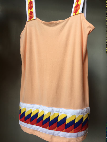 "Size medium (8-10) peach tank top, ""Dana T"", by Mvskoke artist, Michael Deo, with patchwork in white, yellow, royal blue, red & orange"
