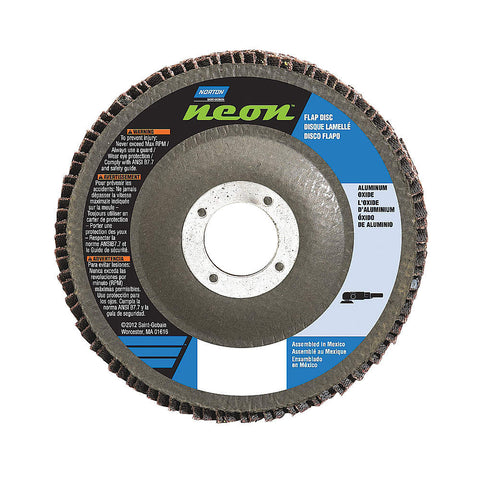 "Norton 5"" Flap Disc, Type 29, Aluminum Oxide, 80 Grit, 5/8-11 Mounting Size, Neon, 10 pk.Liquid error (line 13): comparison of String with 0 failed"