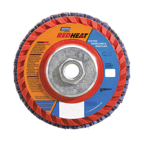 "Norton 7"" Flap Disc, Type 27, Ceramic, 40 Grit, 5/8-11 Mounting Size, Redheat, 5 pk.Liquid error (line 13): comparison of String with 0 failed"