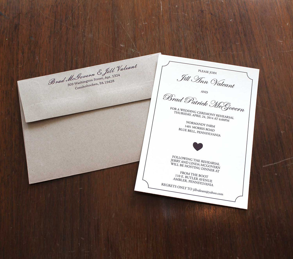 Classic Heart Rehearsal Dinner Invitation