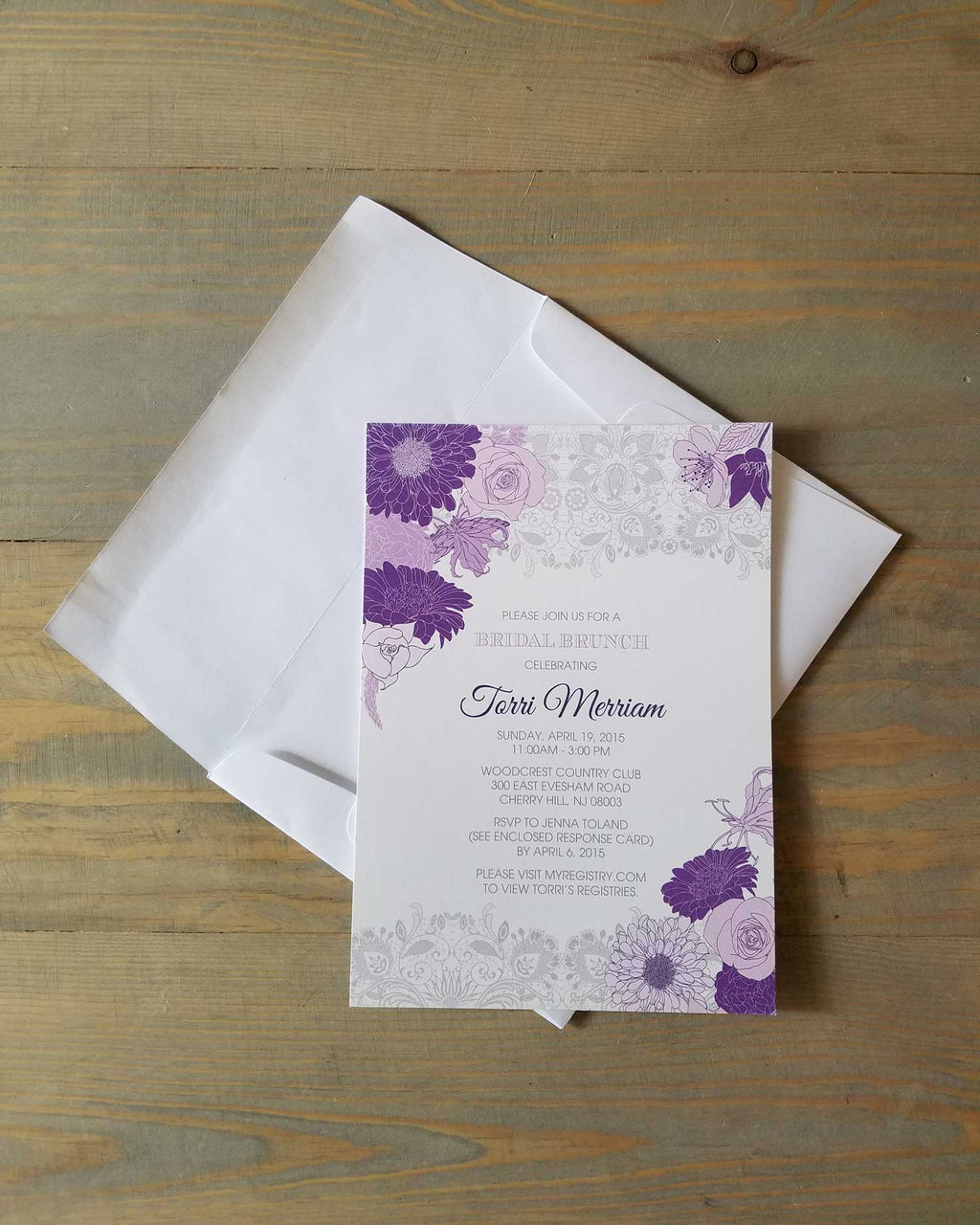 Lace and Purple Flowers Bridal Shower Invitation