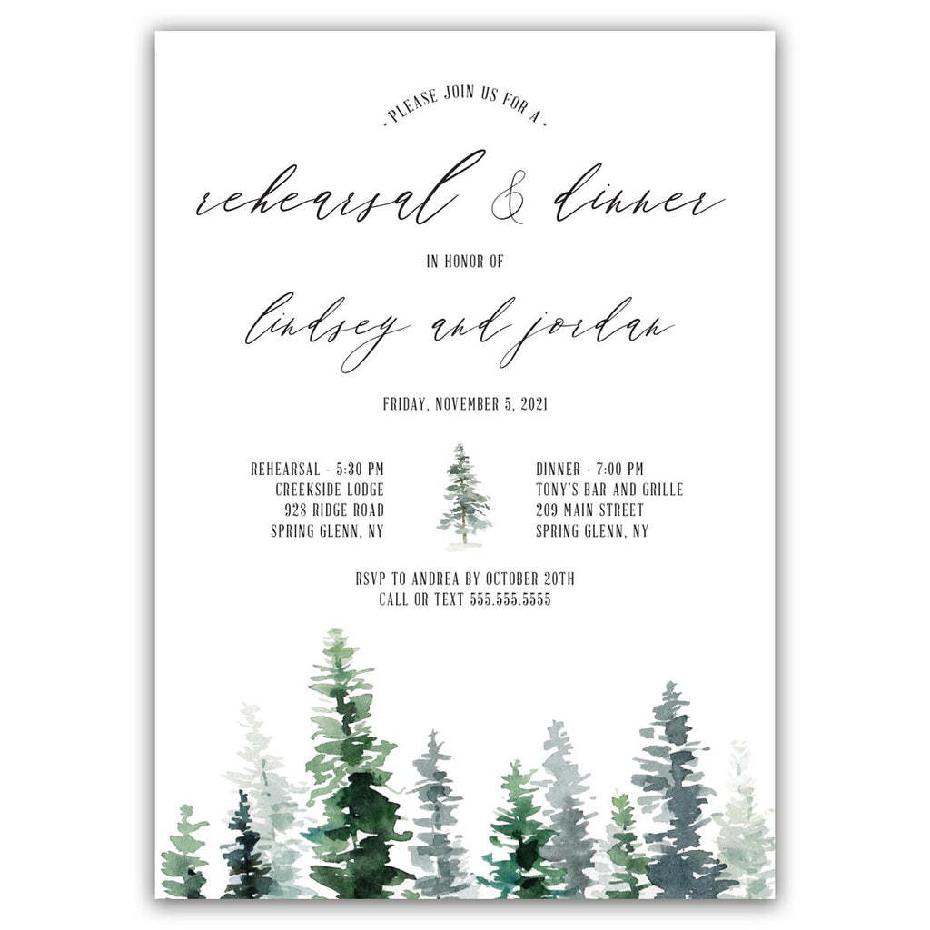 Rustic Woodland Rehearsal Invitation
