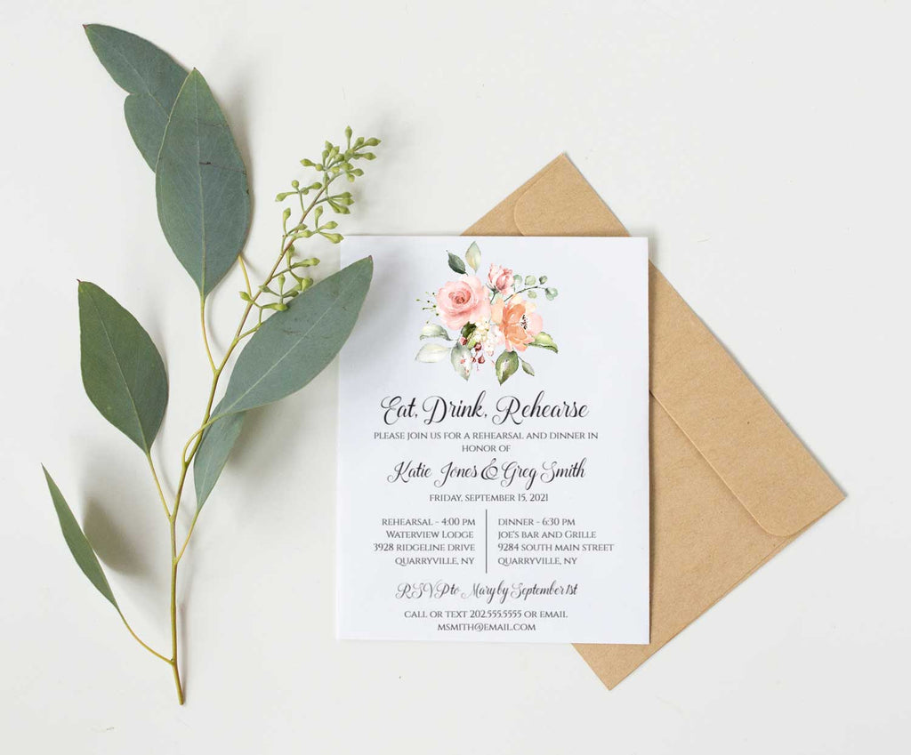 Peach Greenery Bouquet Rehearsal Invitation