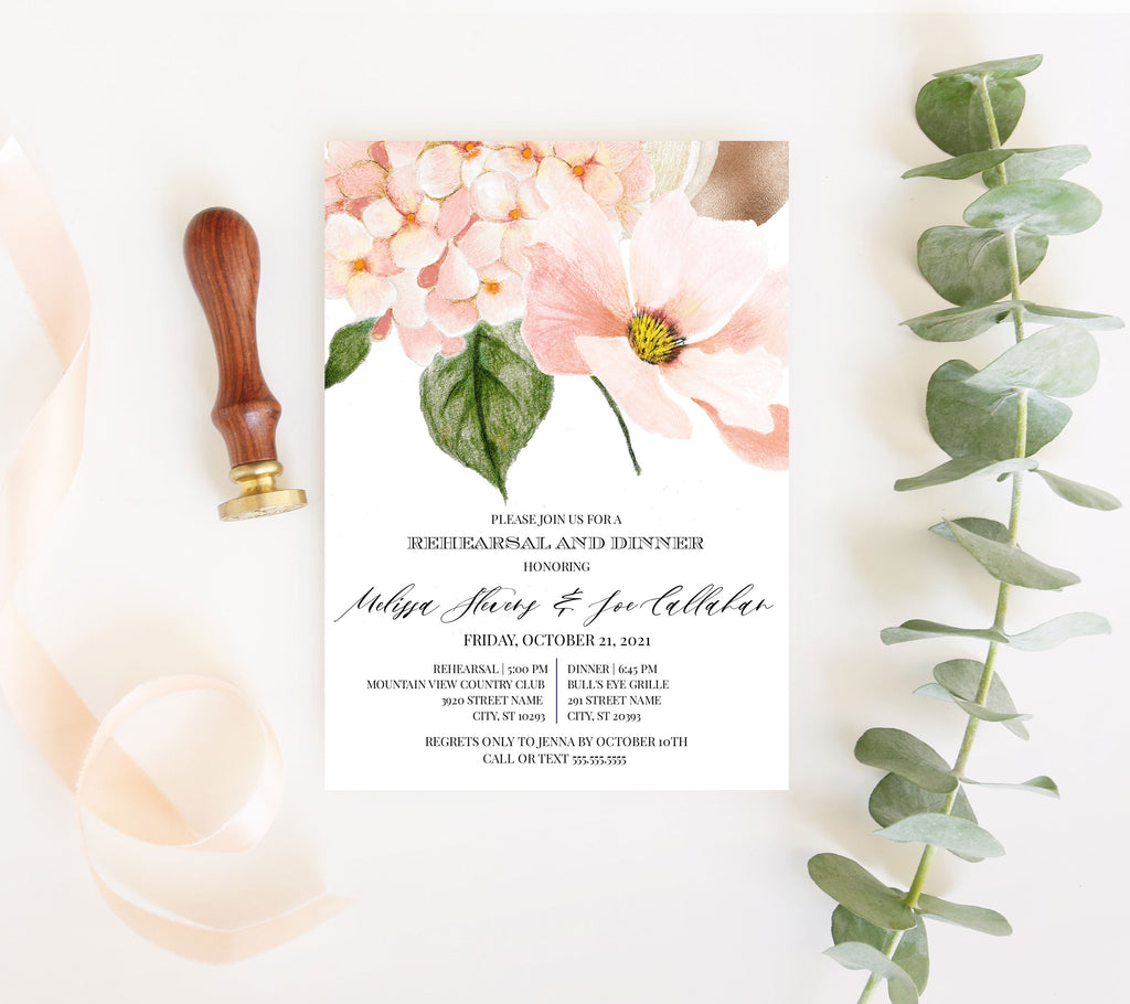 Blush Hydrangea Rehearsal Dinner Invitation