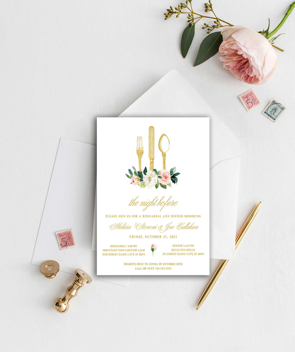 Blush Floral Antique Silverware Rehearsal Dinner Invitation
