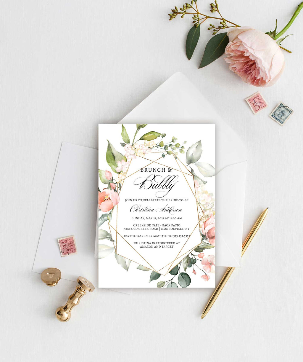 Gold Geometric and Blush Floral Brunch and Bubbly Bridal Shower Invitation