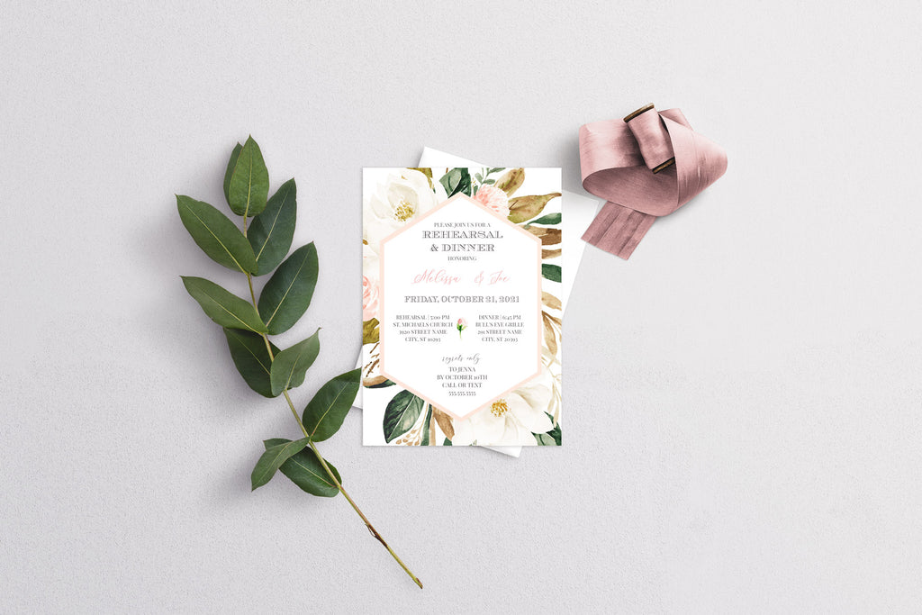 Magnolia Geometric Frame Rehearsal Dinner Invitation