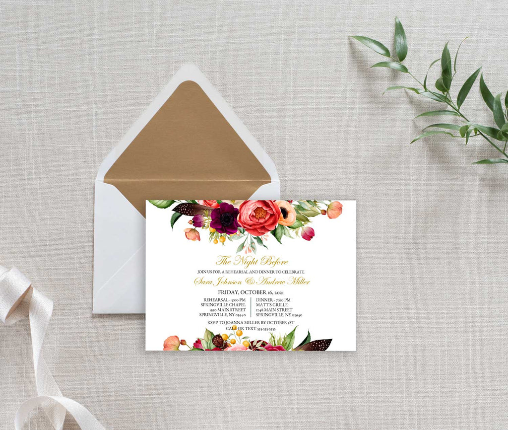Boho Beauty Rehearsal Dinner Invitation