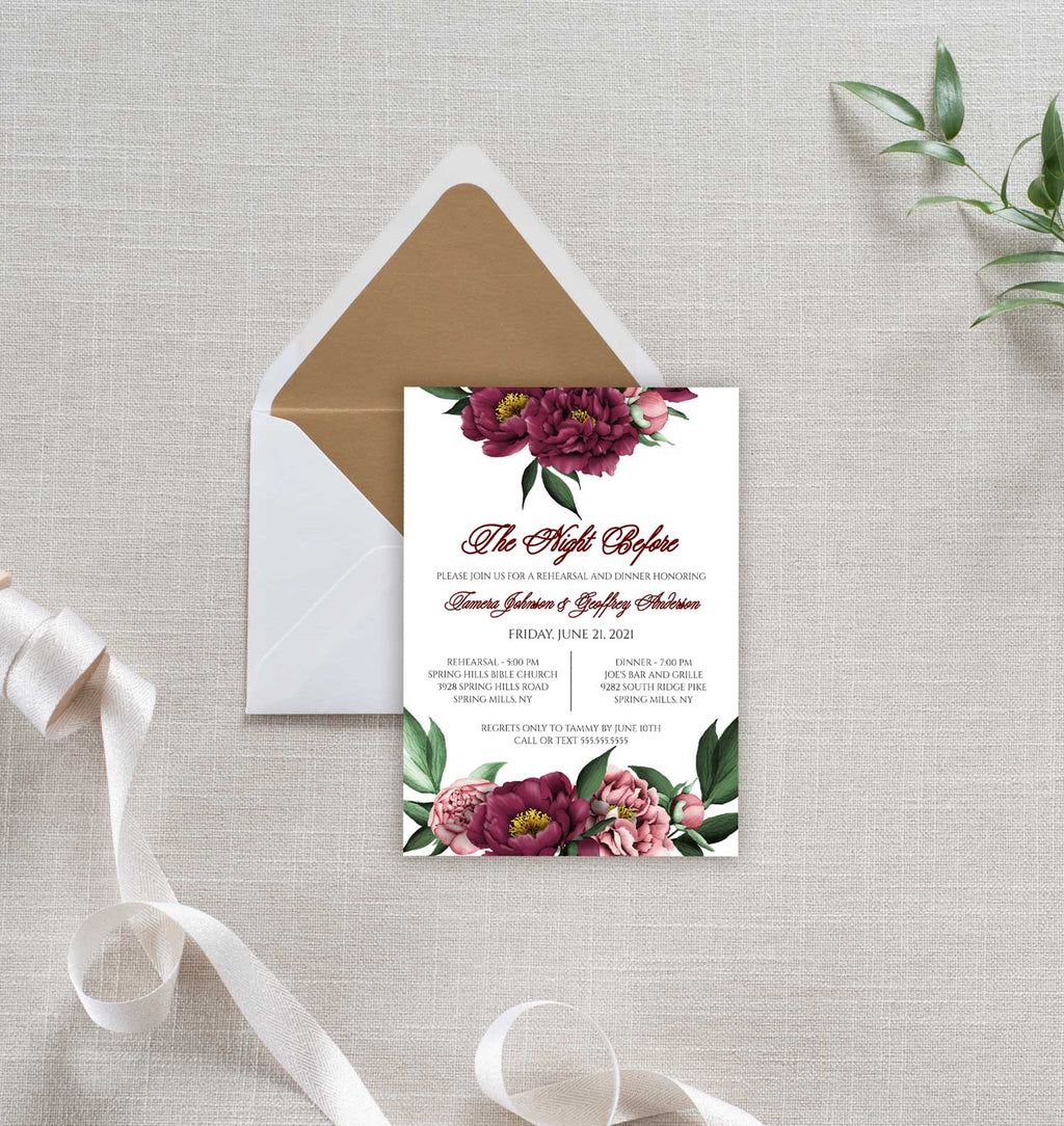 Burgundy Beauty Rehearsal Invitation