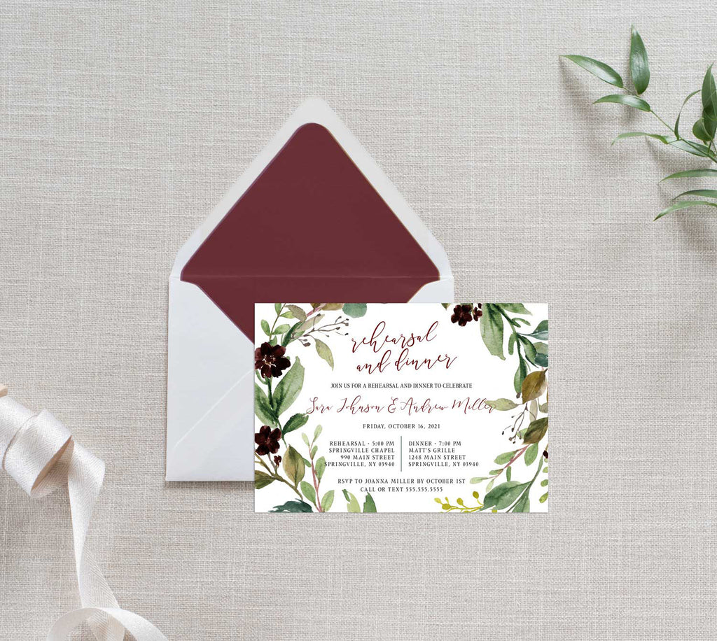 Rustic Burgundy Harvest Rehearsal Dinner Invitation