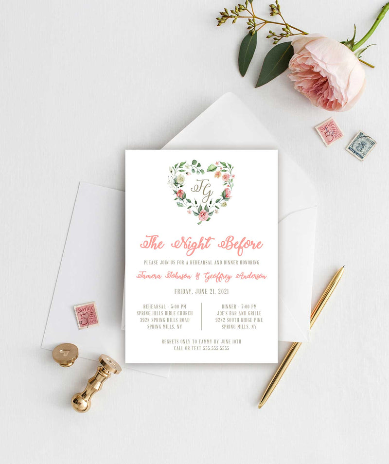 Creamy Pink Heart Wreath Rehearsal Dinner Invitation