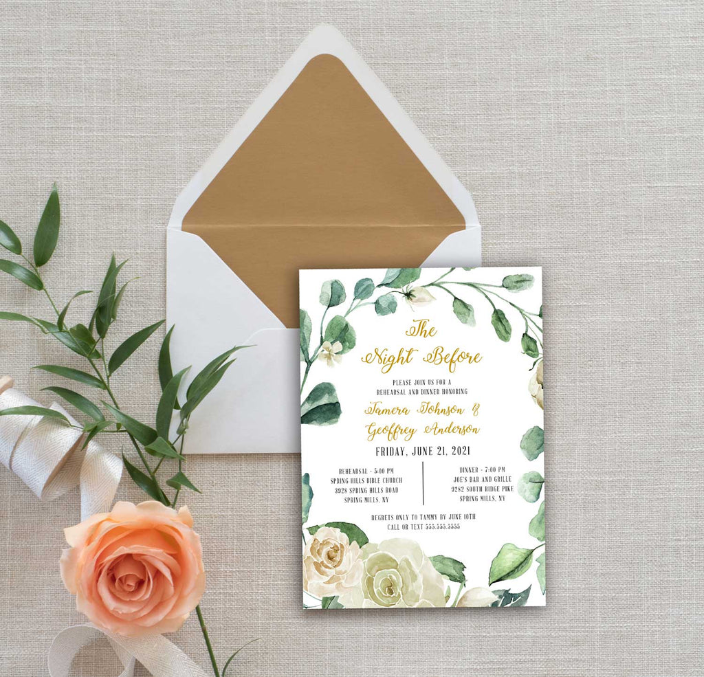 Creamy White Flowers and Greenery Rehearsal Dinner Invitation