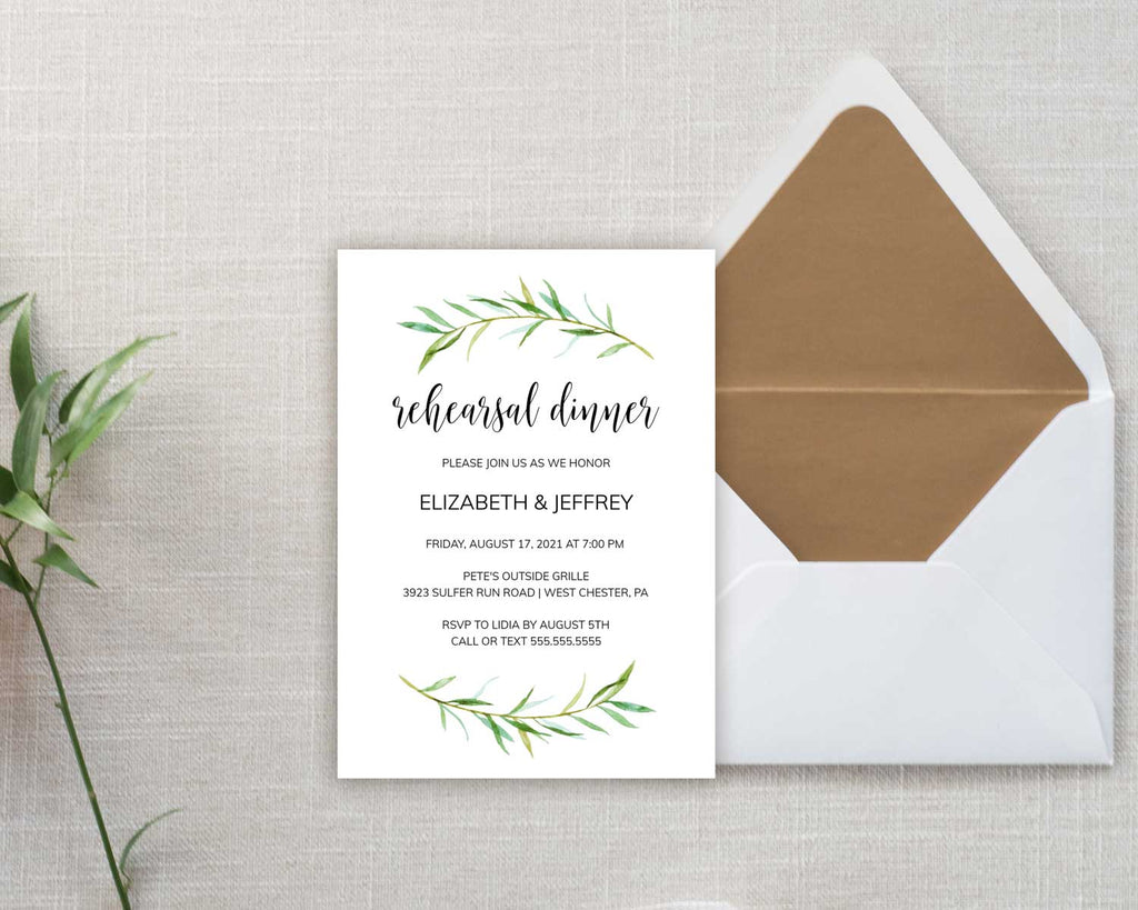 Tender Greenery Rehearsal Dinner Invitation