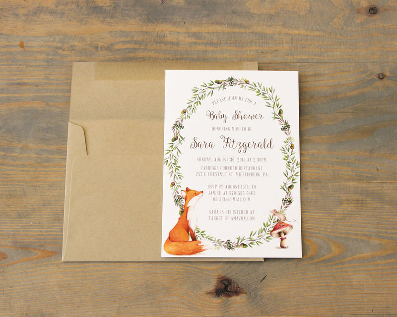 Woodland Baby Shower Invitation Gender Neutral