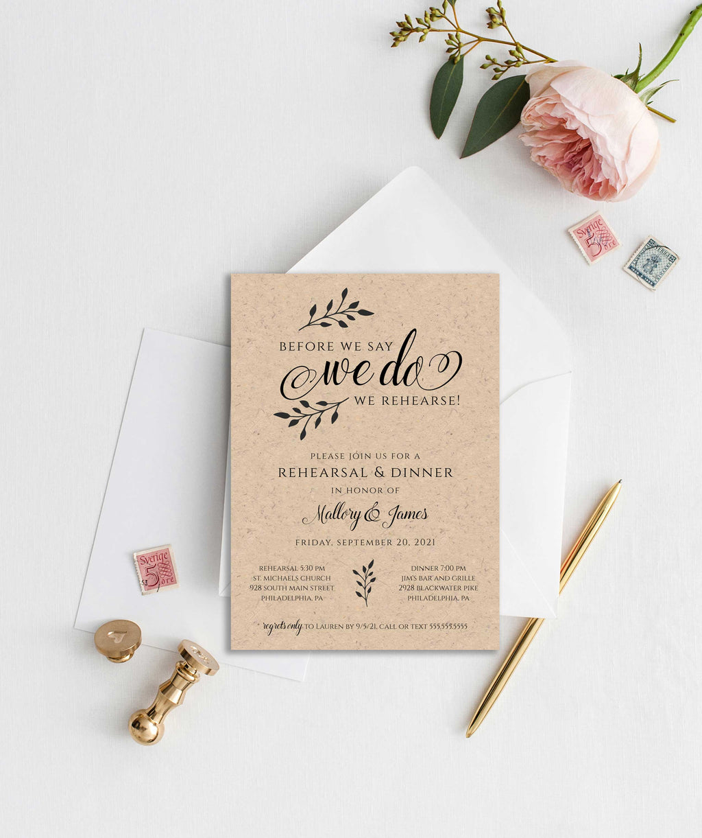 "Rustic Barn Wedding ""We Do"" Rehearsal Dinner Invitation"