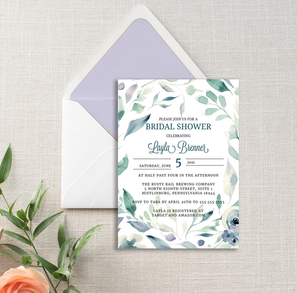 Lavender and Mint Wreath Bridal Shower Invitation