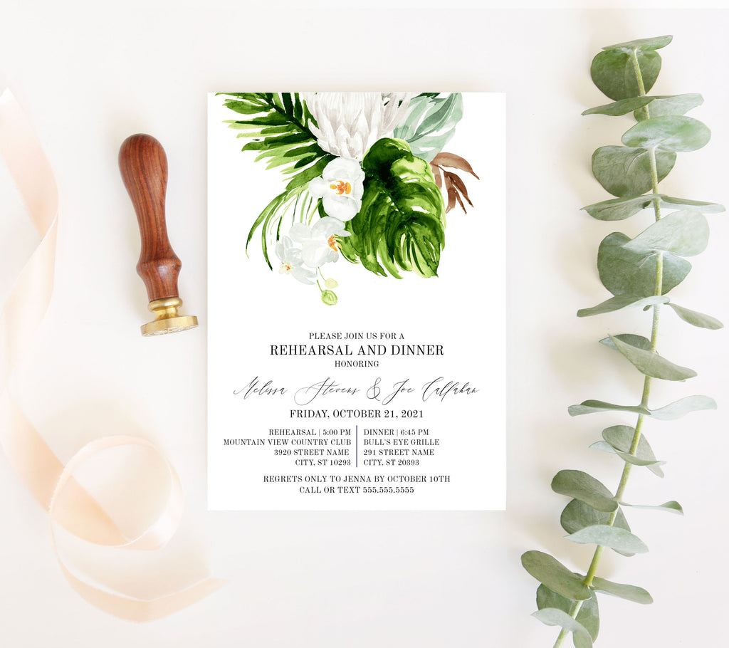 Lush Tropical Rehearsal Dinner Invitation