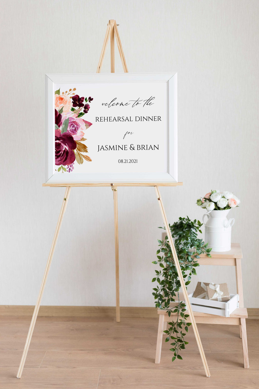 Moody Rustic Wedding Rehearsal Welcome Sign