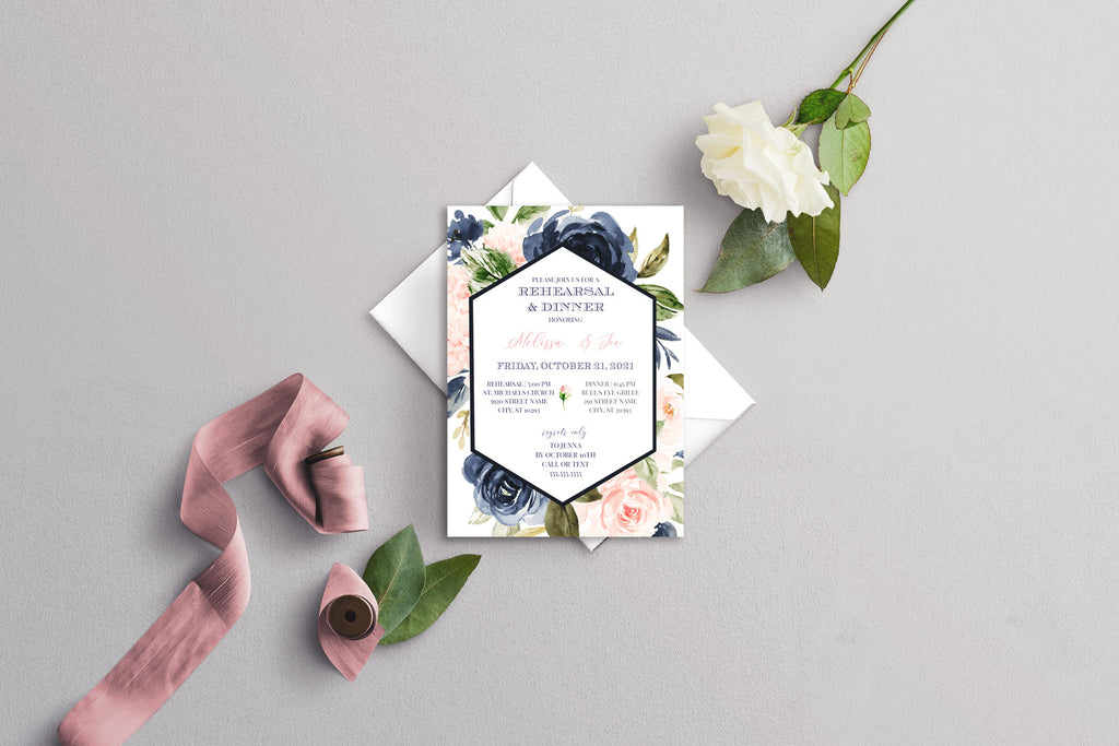 Navy Blue and Blush Geometric Modern Wedding Rehearsal Dinner Invitation