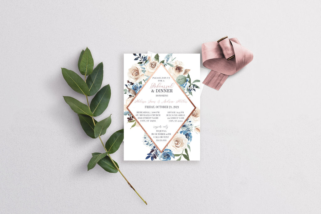 Lakeside Rose Gold and Navy Blue Geometric Wedding Rehearsal Dinner Invitation