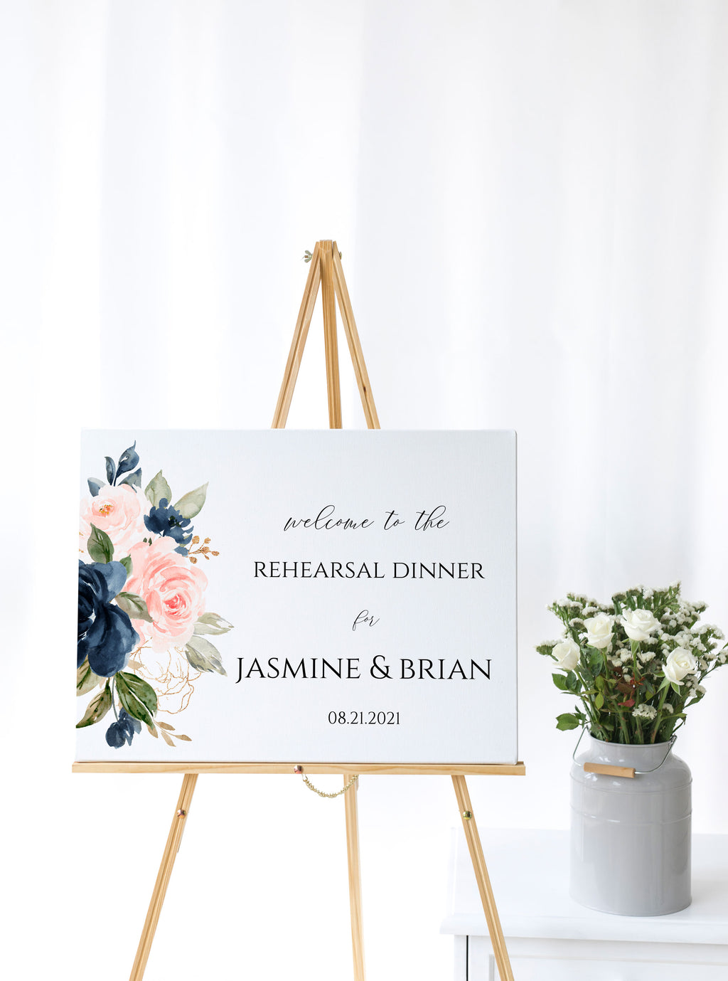 Blush and Navy Blue Wedding Rehearsal Welcome Sign