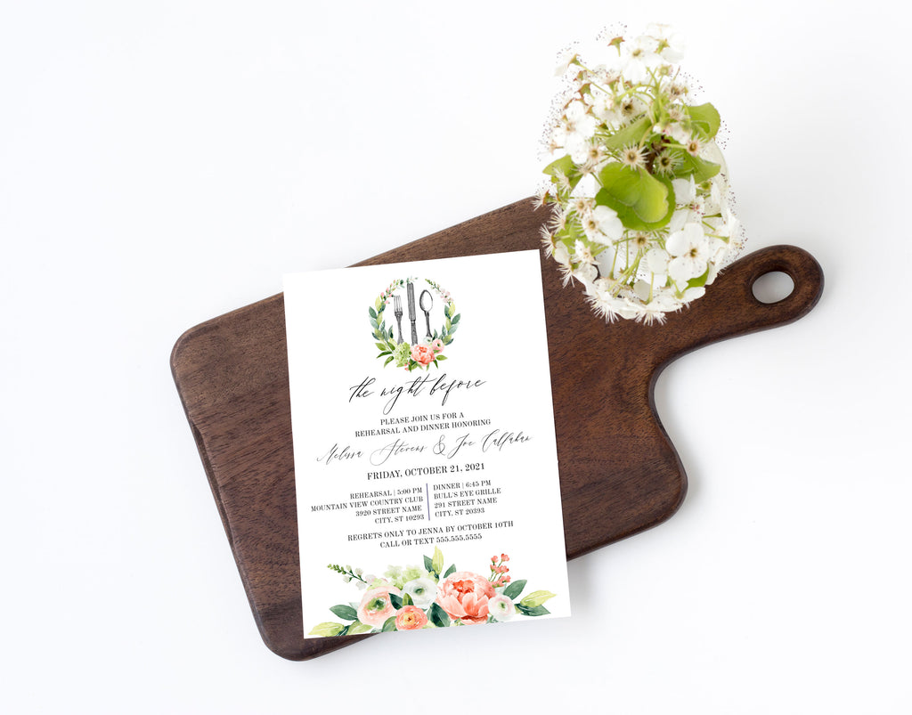 Spring Floral Wreath Rehearsal Dinner Invitation