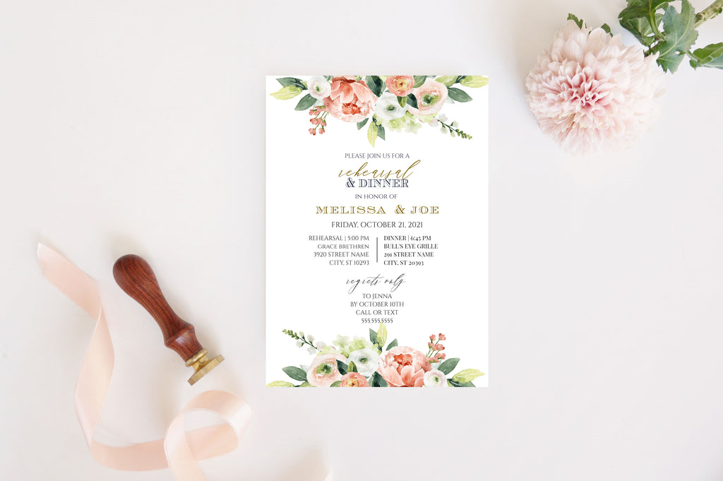 Spring Floral Rehearsal Dinner Invitation