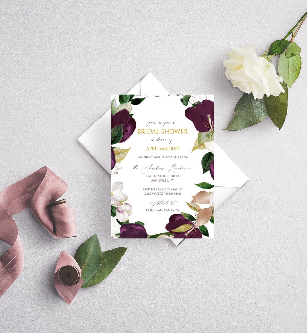 Eggplant Plum and Gold Bridal Shower Invitation