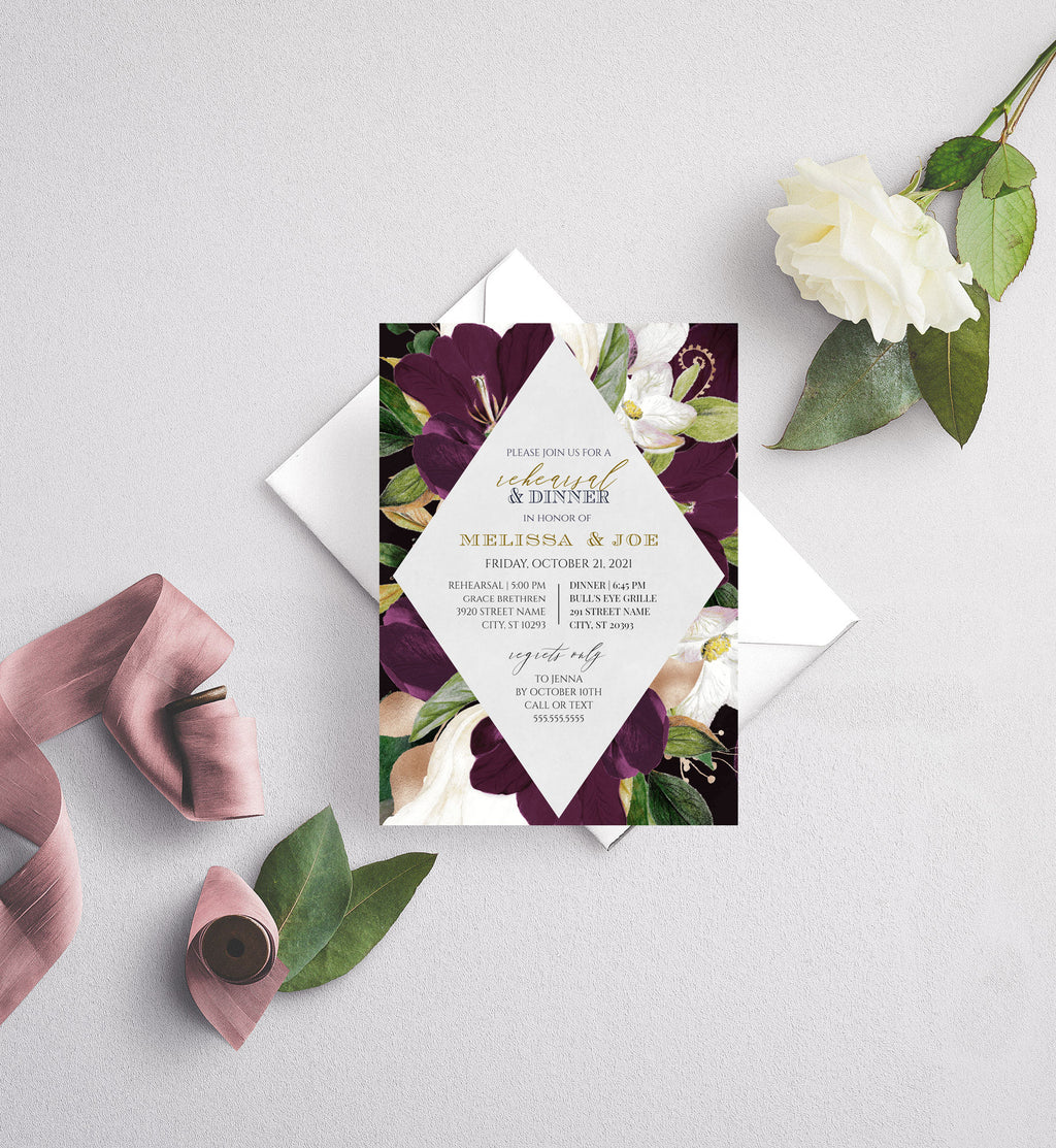 Eggplant Plum and Gold Diamond Rehearsal Dinner Invitation
