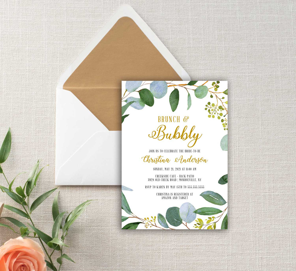 Greenery and Gold Wreath Bridal Shower Invitation