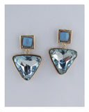 Faux crystal drop triangle earrings