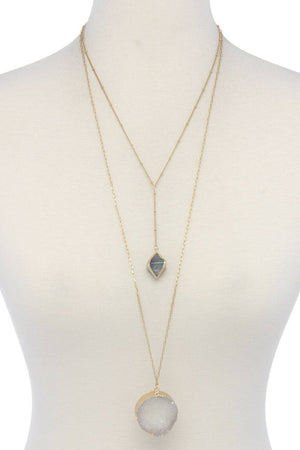 Druzy Stone Layered Y Shape Necklace