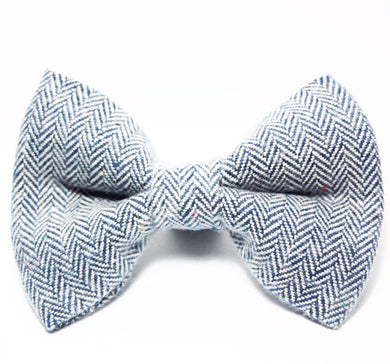 Herringbone Blue Bow Tie