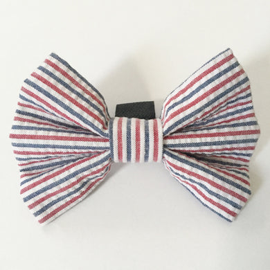 Red, White & Blue Seersucker Bow Tie - As Seen in Modern Dog Magazine